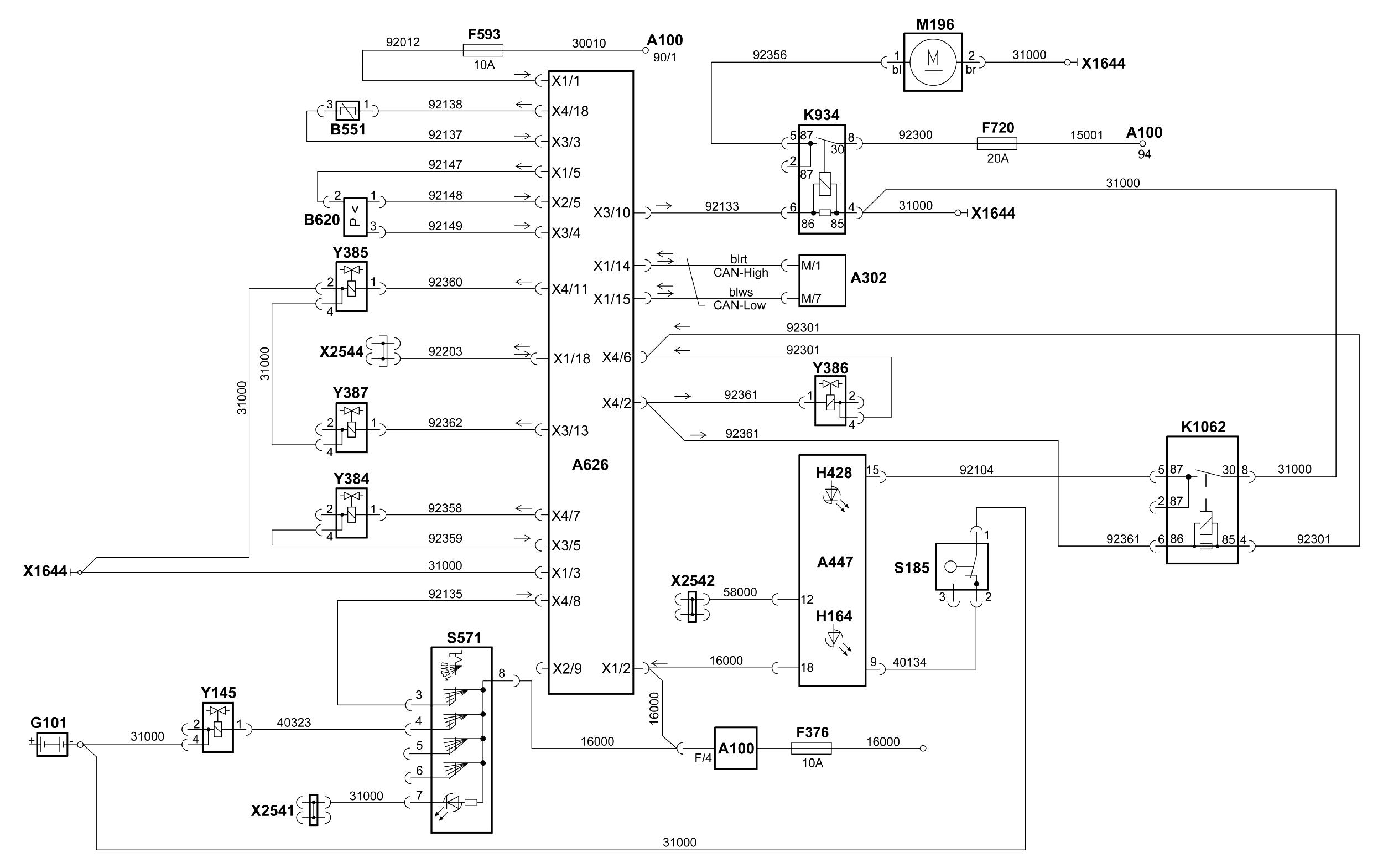 схема блокировки заднего моста ман